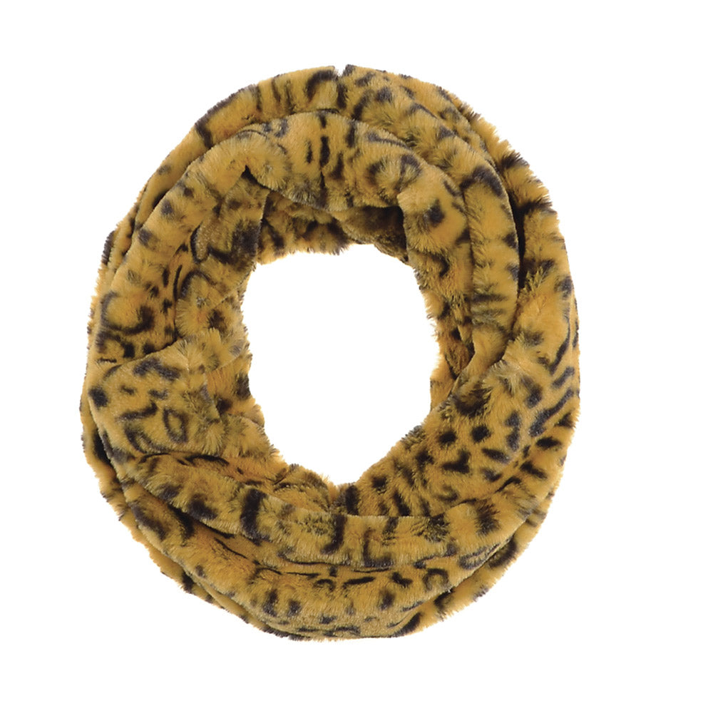 Faux Fur Snood - Leopard Mustard