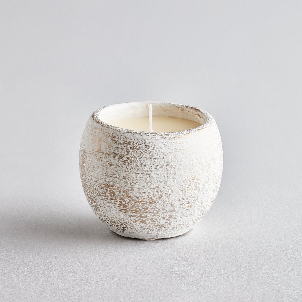 White Candle Pot - Orange & Cinnamon