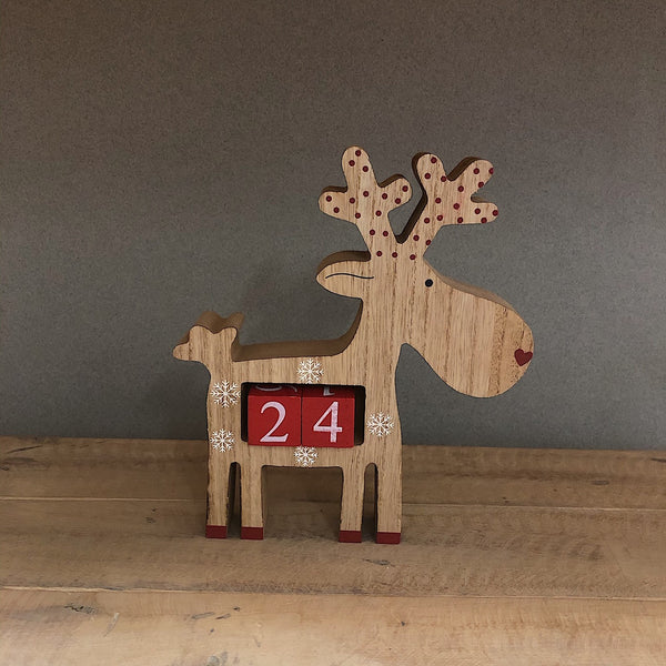Wooden Advent Countdown Reindeer