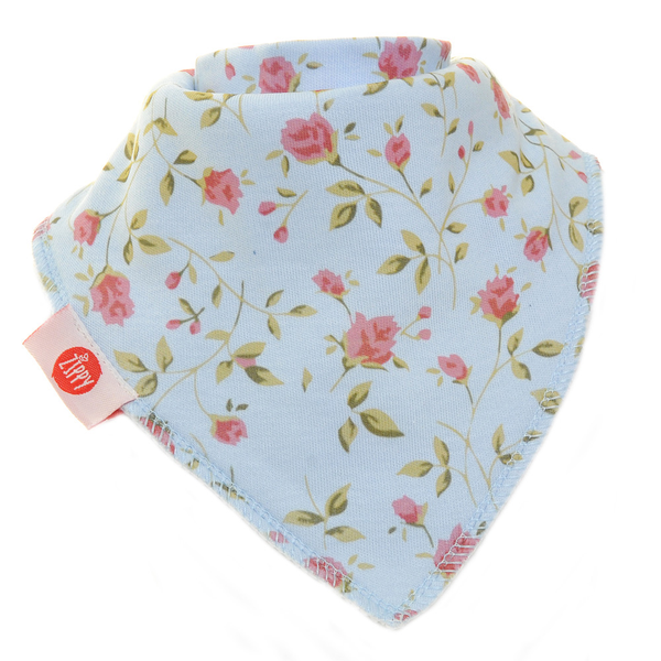 Vintage Blue Rose Single Bandana Bib