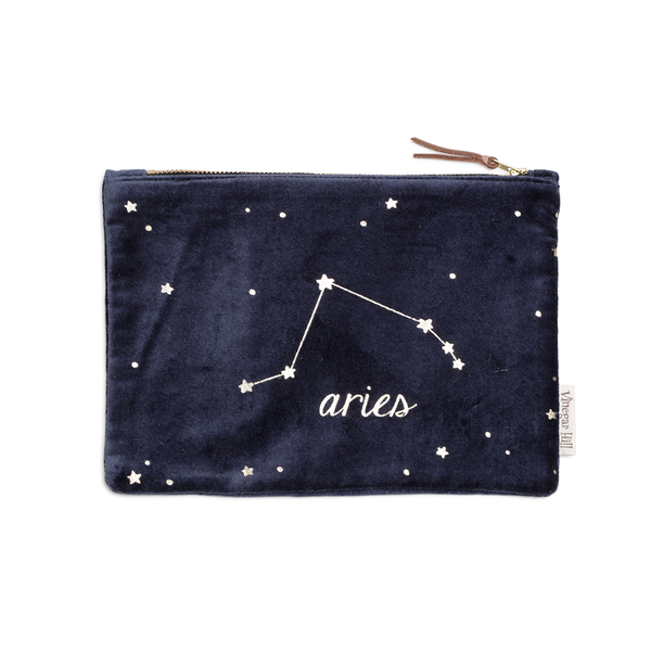 Blue velvet Aries wash bag with leather trim