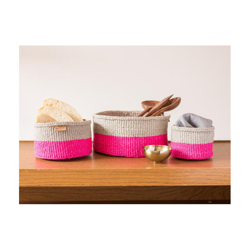 MALIZA Grey And Flouro Pink Block Woven Basket - Medium