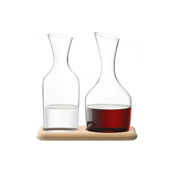 Wine Water & Wine Carafe Set & Oak Base 1.2L/1.4L Clear