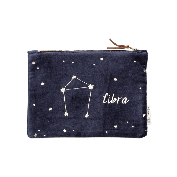 Blue velvet Libra wash bag with leather trim