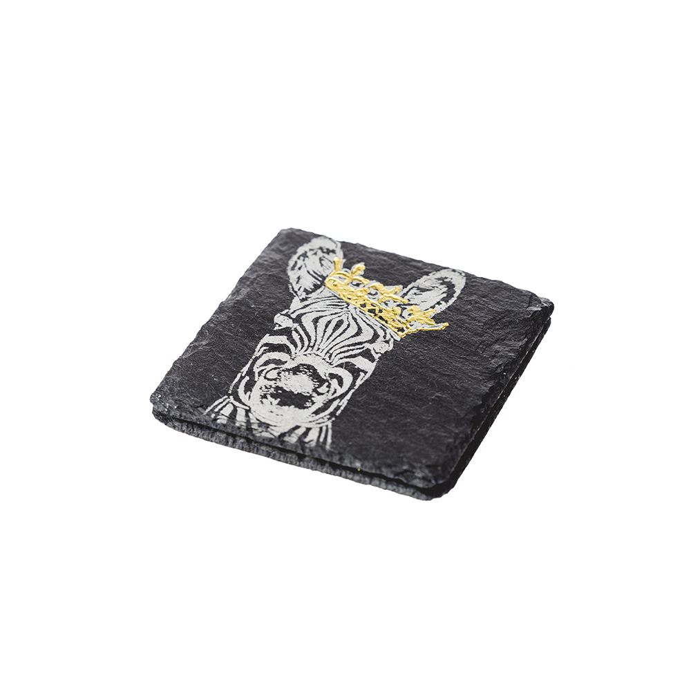 Gold Leaf Crown Zebra Coasters