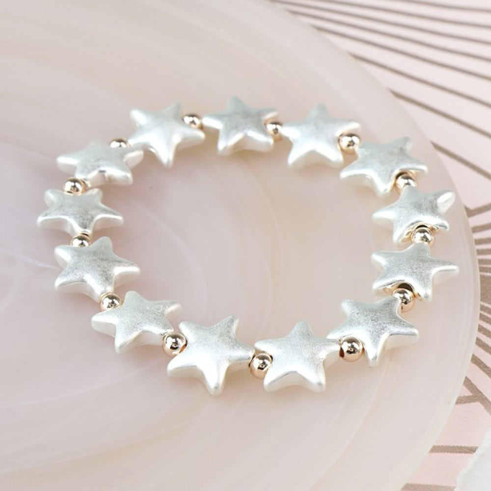 Silver Star and Bead Bracelet