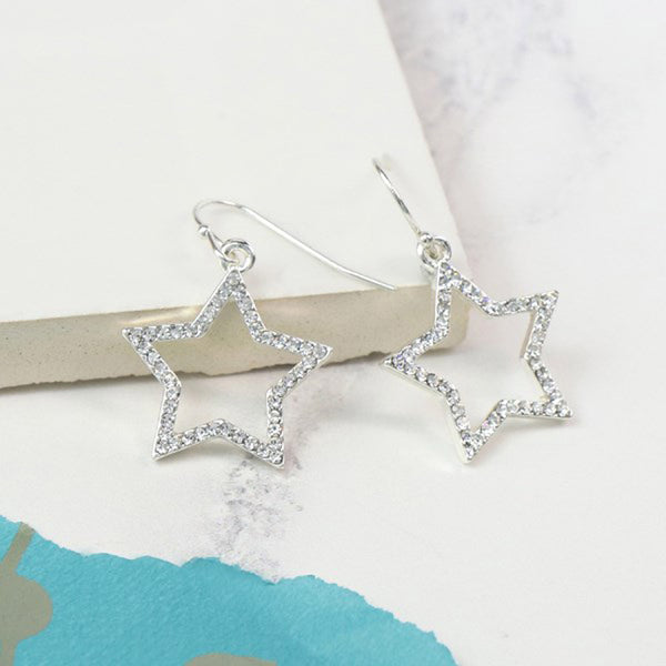 Star Earrings with Crystals