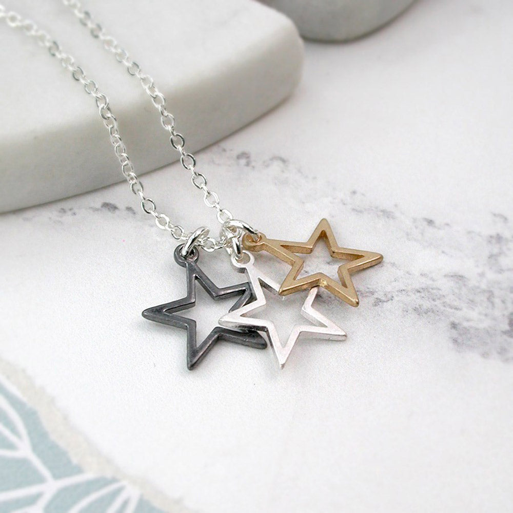Triple Star Pendant Necklace