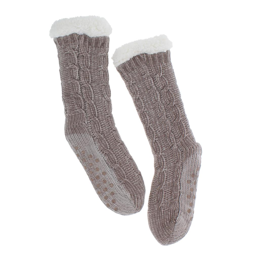 Molly Chenille Ladies Slipper Socks in Grey