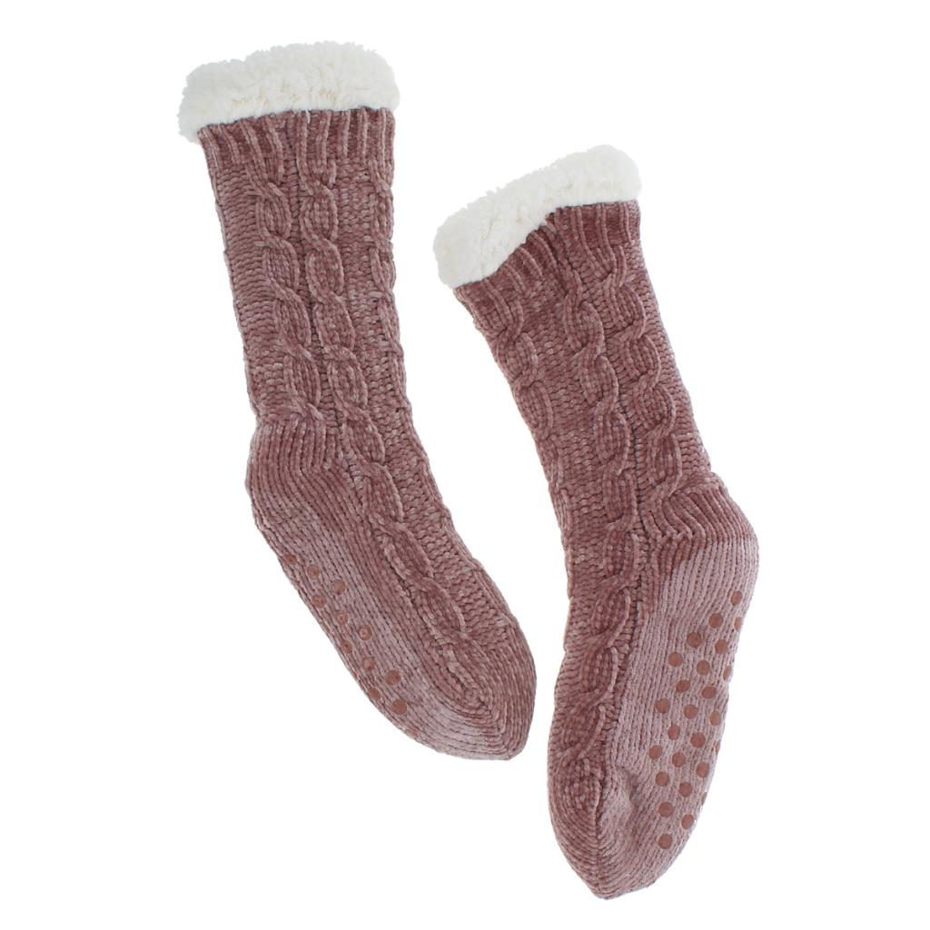 Molly Chenille Ladies Slipper Socks in Dusky Pink