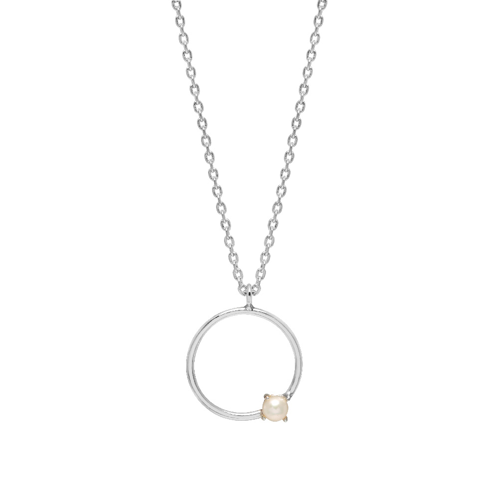 Necklace - Pearl in Silver Plated Circle