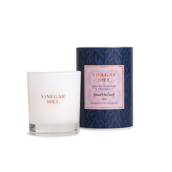 English Rosemary & Patchouli Glass Candle - 50hrs