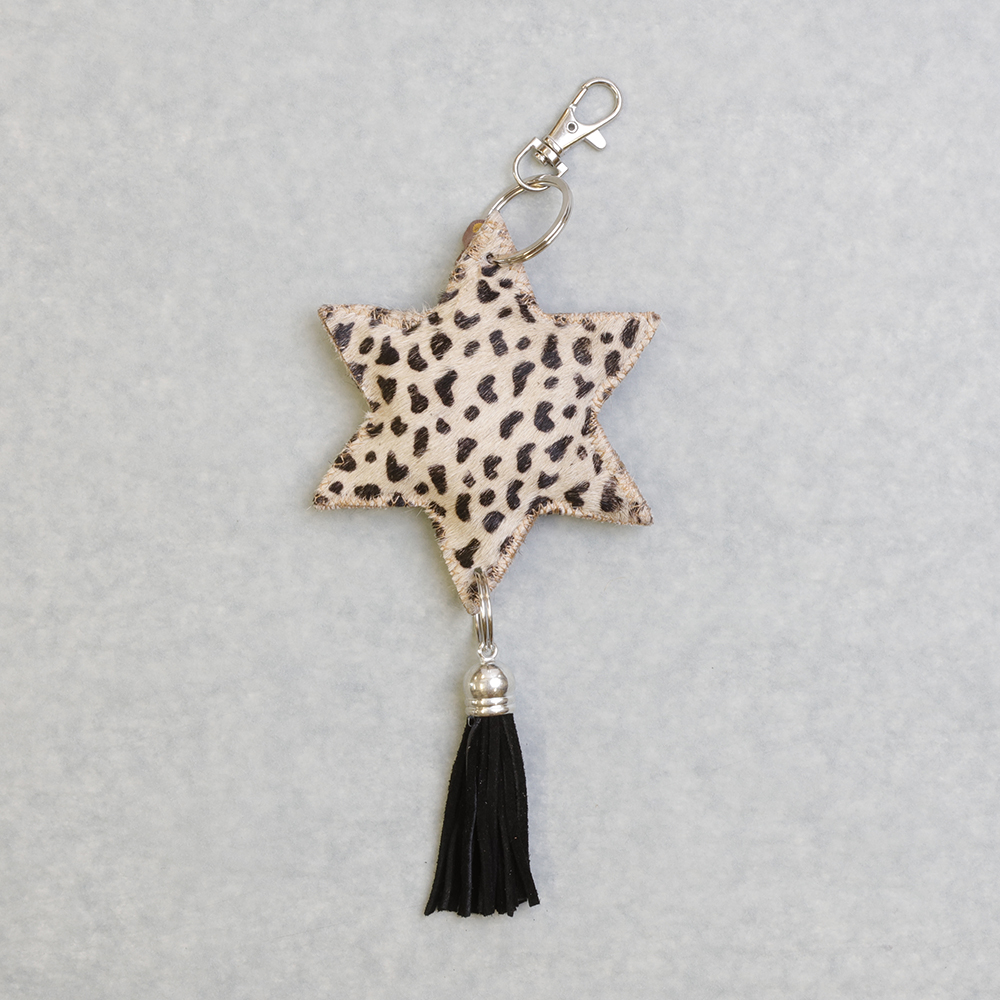 Cow Hide Star Keyring