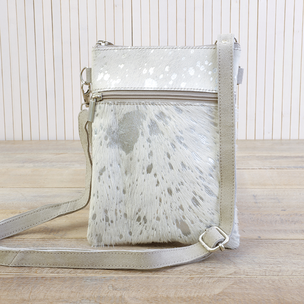 White/Silver Leather Cross Body Bag
