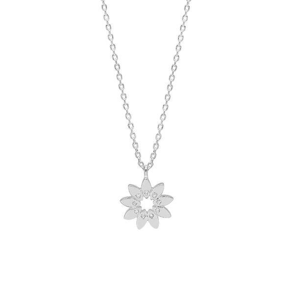 Necklace - Modern Floral with CZ Silver Plated