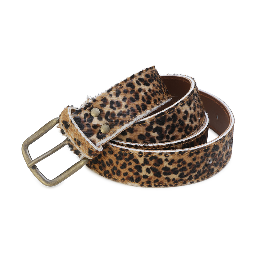 Cowhide Belt- Leopard small spots