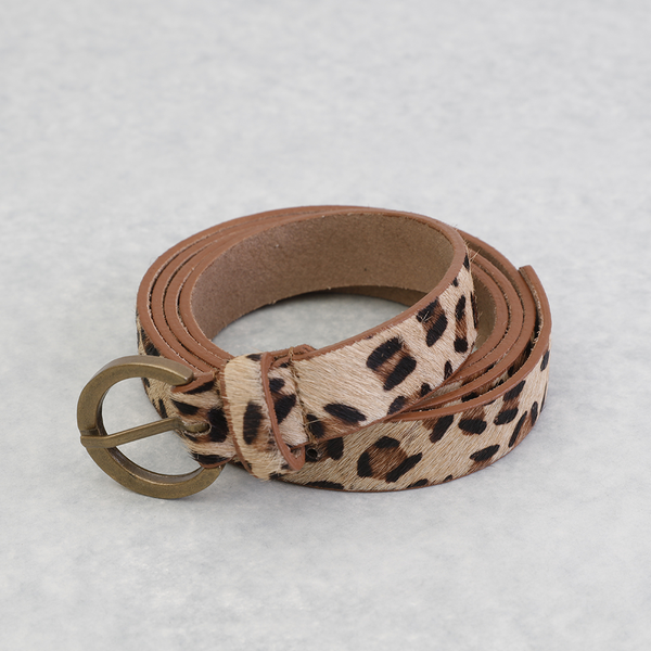Sml Leopard Print Cow Hide Belt (One Size)