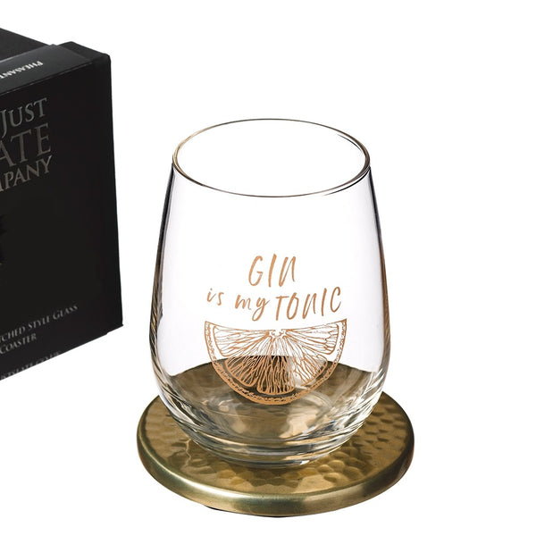 Gin Tonic Glass & Coaster Set