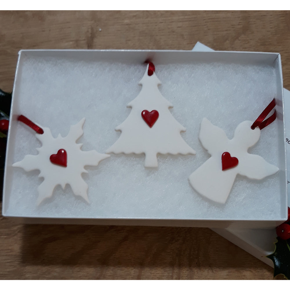 Set Of 3 Tree Decorations with Red Hearts