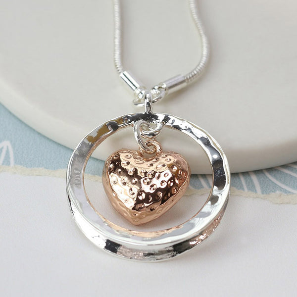 Silver/RGold Heart Necklace