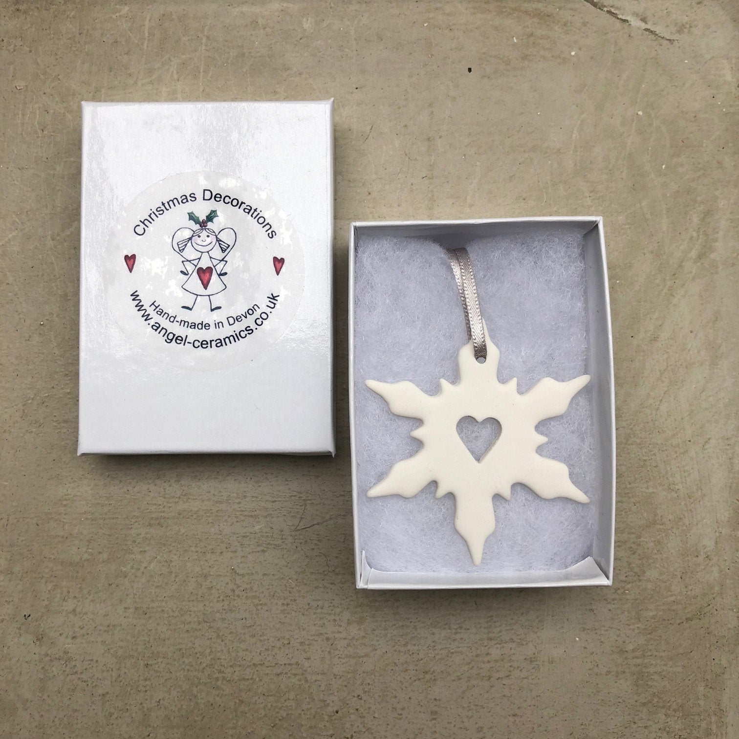 Open Heart Snowflake Decoration with Silver Ribbon
