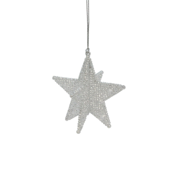 Silver Glitter 3D Star Decoration