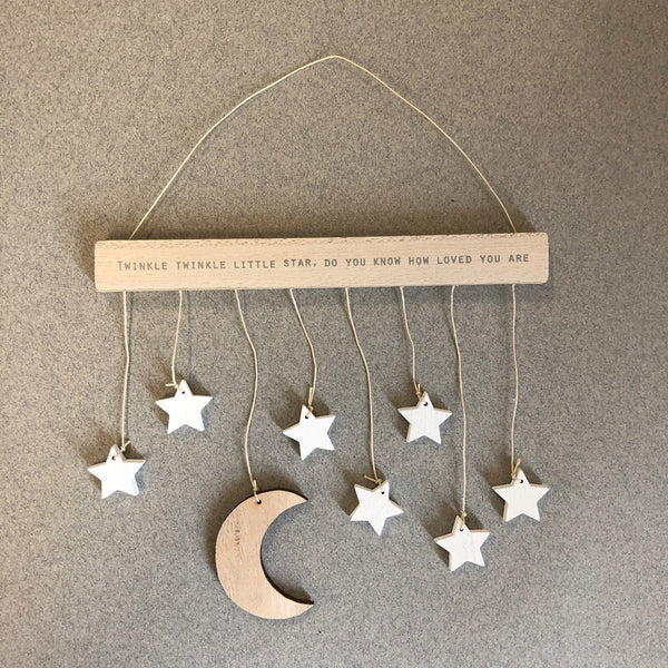 Wood Hanger With Moon & Stars