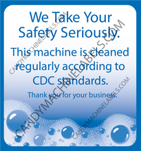 "Load image into Gallery viewer, 2.5""x2.5"" Glossy Bulk Vending CDC Safety Stickers"