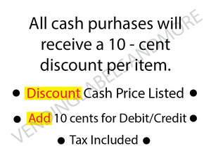 "CASH DISCOUNT VENDING STICKER 3"" X 2.25"""