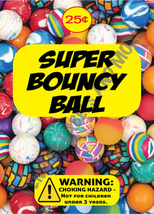 "SUPER BOUNCY BALL DISPLAY CARD  4.5"" X 6.25"""