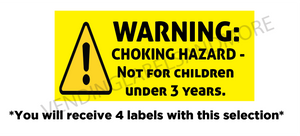 "1"" X 2.625"" CHOKE HAZARD WARNING LABEL"