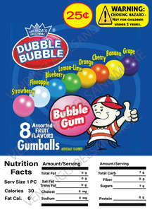 "GUMBALL DISPLAY CARD WITH NUTRITION INFORMATION 4.5"" X 6.25"""