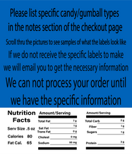 "Load image into Gallery viewer, (Pack of 12) 2.5"" X 2.5"" LABEL WITH NUTRITION INFORMATION"
