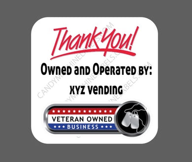 Glossy Veteran Owned Business Stickers with contact information