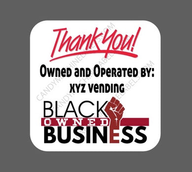 Glossy Black Owned Business Stickers with Contact Information