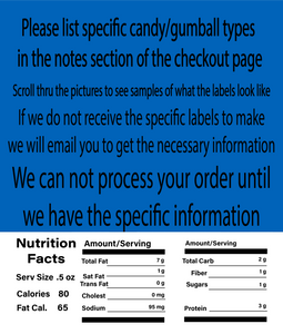 "2.5"" X 2.5"" LABEL WITH NUTRITION INFORMATION"