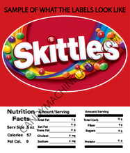 "Load image into Gallery viewer, 2.5"" X 2.5"" CANDY MACHINE STICKER LABEL WITH NUTRITION INFORMATION"