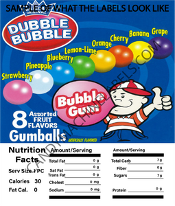 "2.5"" X 2.5"" CANDY MACHINE STICKER LABEL WITH NUTRITION INFORMATION"