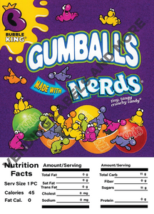"GUMBALL/CANDY DISPLAY CARD WITH NUTRITION INFORMATION 4.5"" X 6.25"""