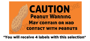 "1"" X 2.625"" PEANUT WARNING LABEL"