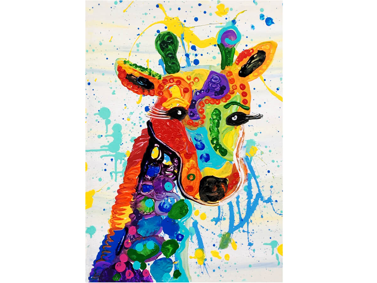 Rainbow Giraffe Art with Intention MicroPuzzles Puzzle Jigsaw Mini