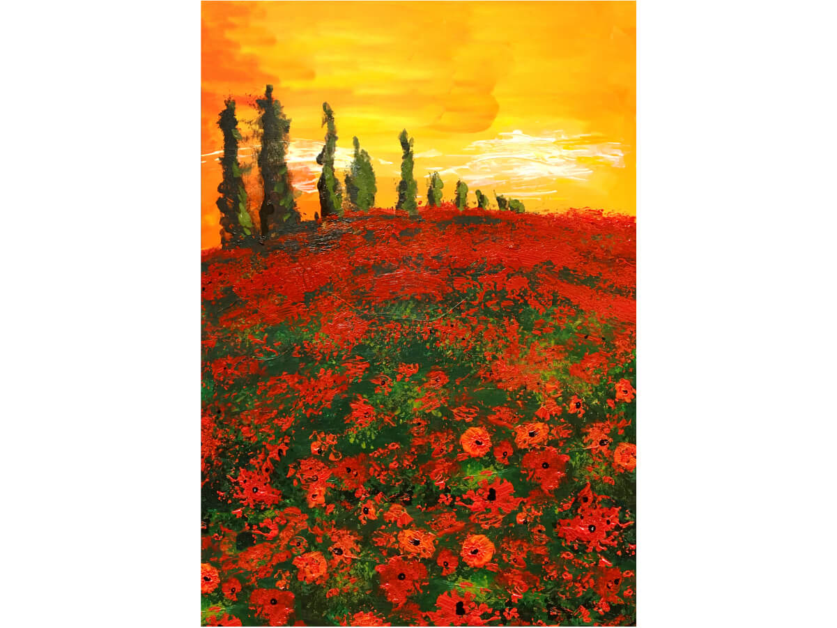 SERENITY poppy flower field at sunset sunrise micropuzzles puzzle jigsaw mini