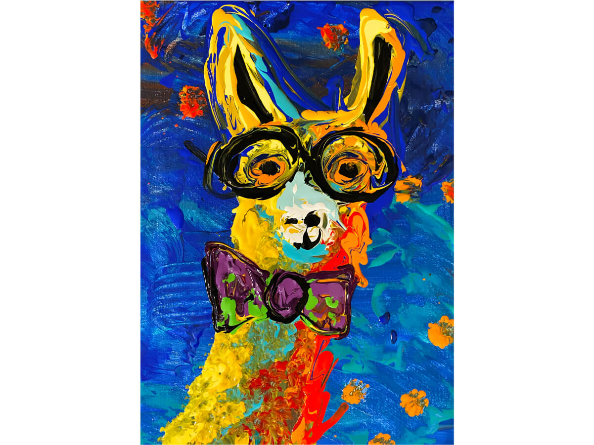 Art with Intention LIVELY LOUIS LAMA MicroPuzzle mini jigsaw puzzle