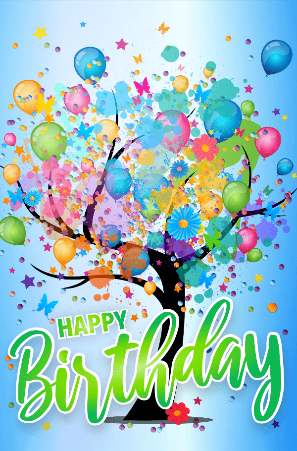 Tree filled with balloons and flowers Happy Birthday MicroPuzzles micro mini jigsaw puzzle