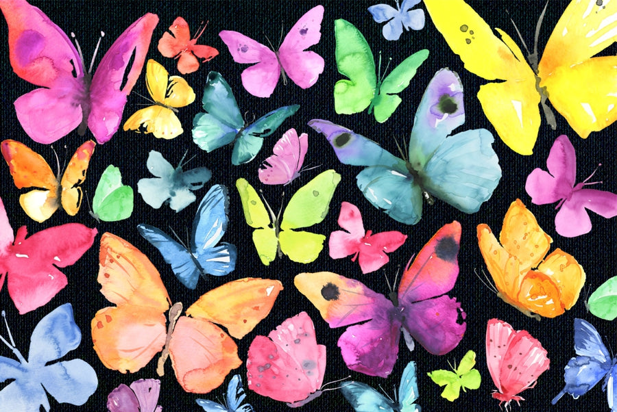 Watercolor butterflies on a black background Mini jigsawpuzzle MicroPuzzle