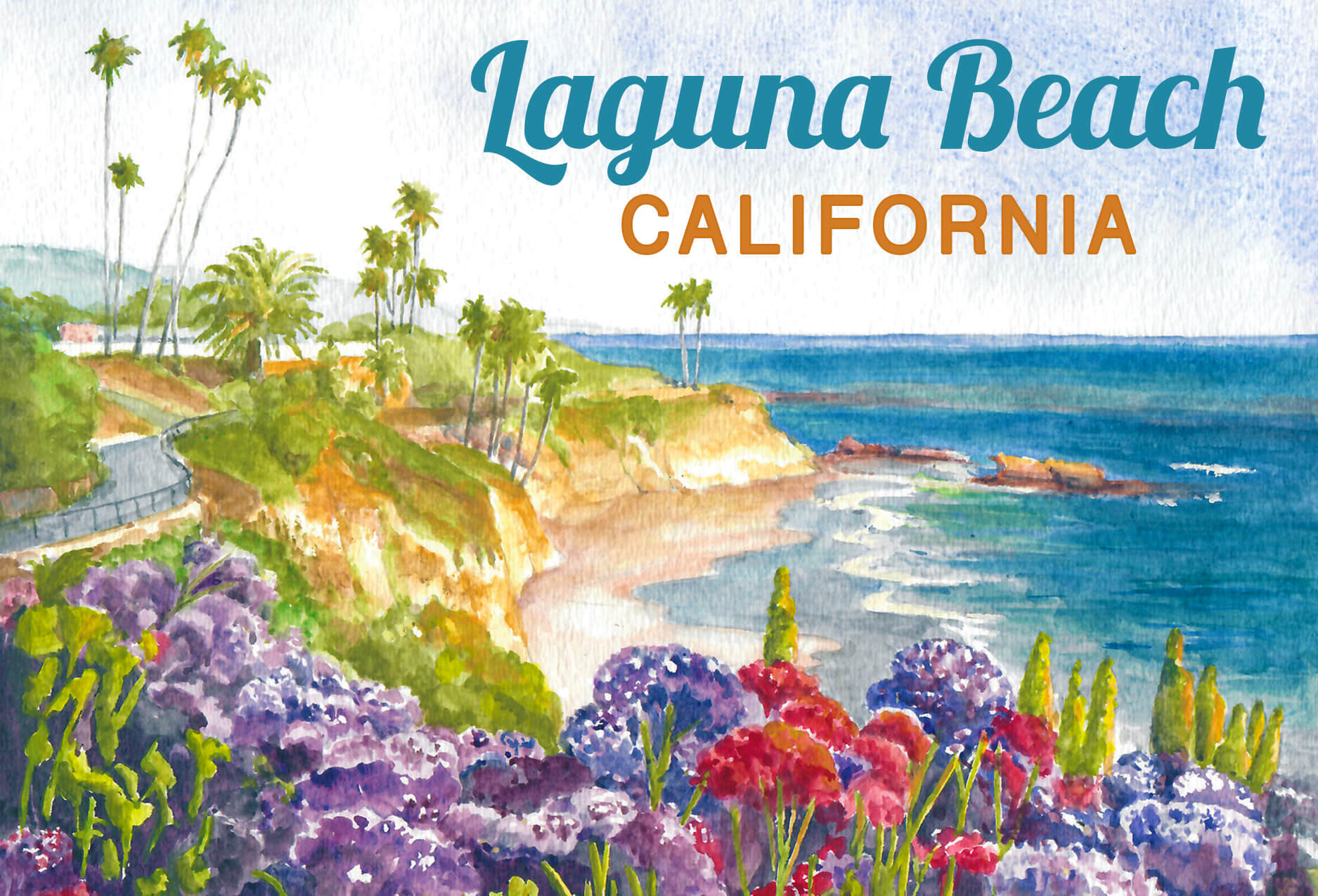 Puzzle showing a cliff side view of Laguna Beach and the pacific ocean