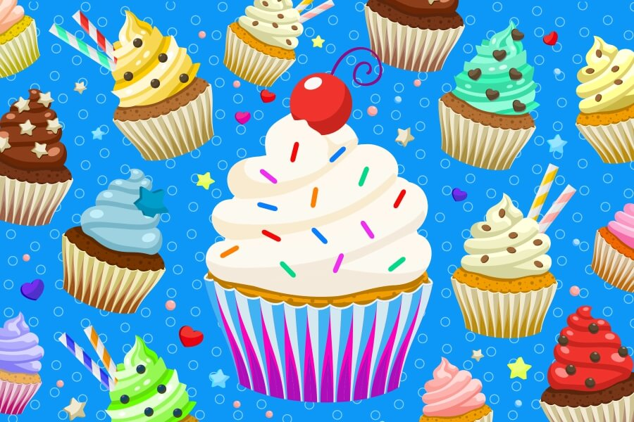 Colorful cupcakes on a blue background MicroPuzzles micro mini jigsaw puzzle