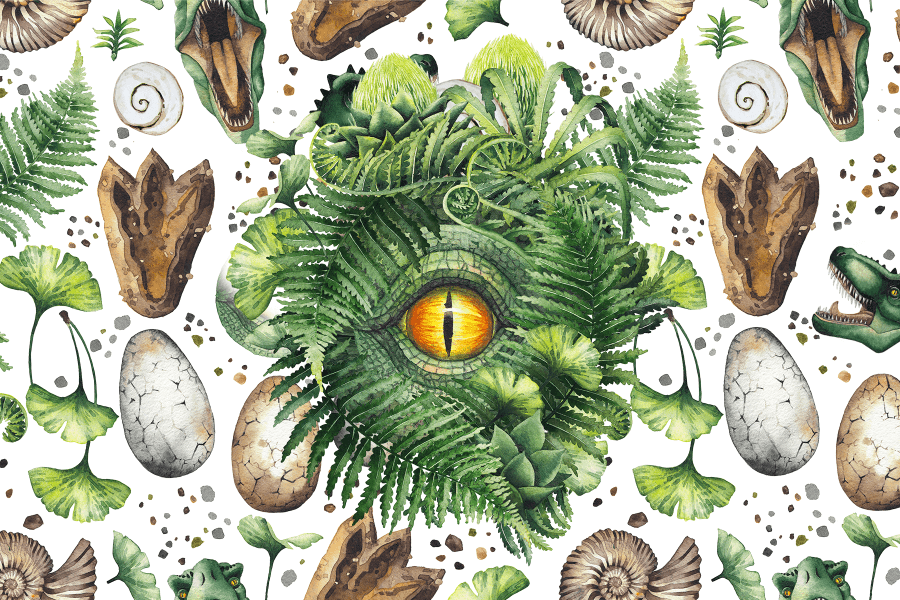 Dino Eye dinosaur eye in prehistoric foilage eggs footprint and fossils MicroPuzzle jigsaw puzzle mini micro