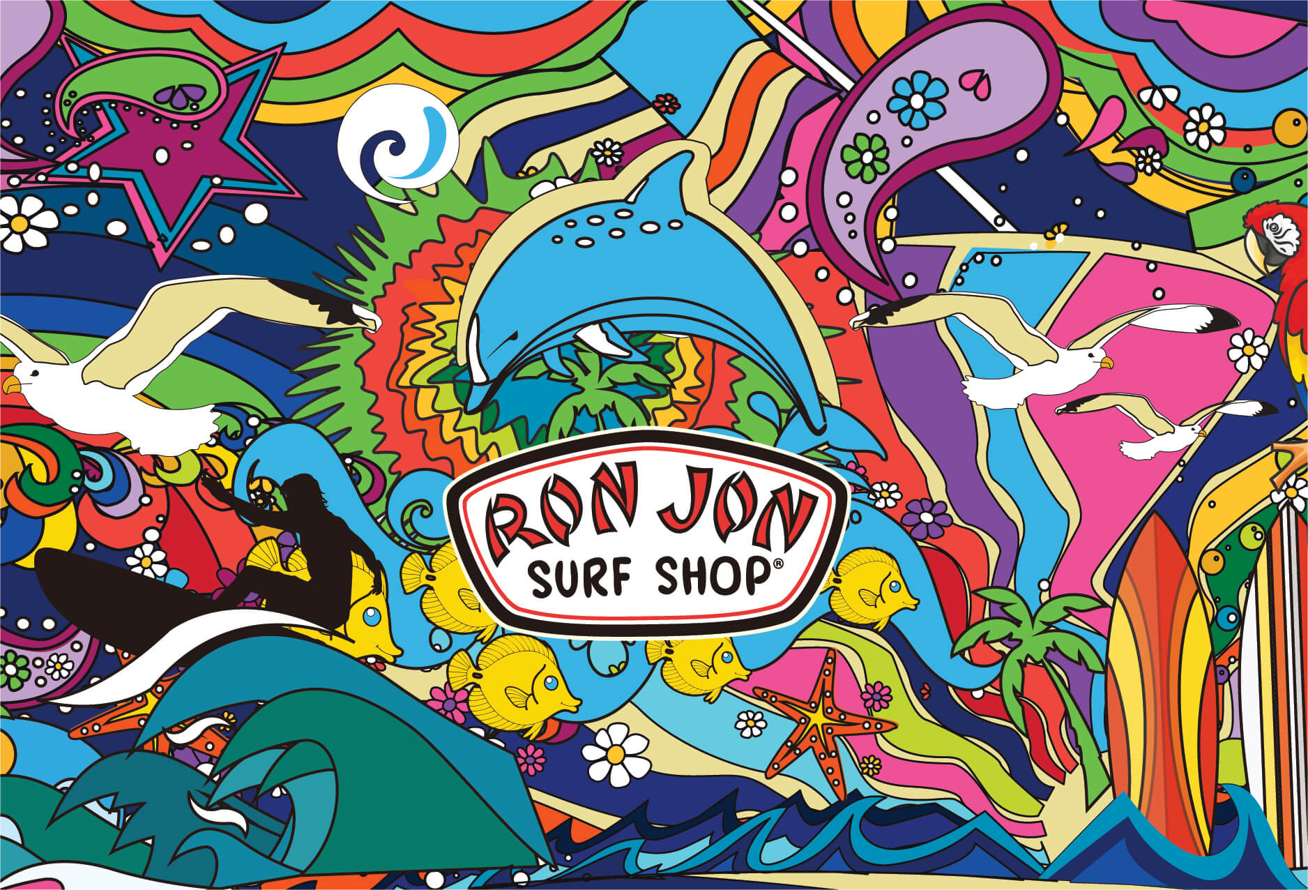 Puzzle showing Ron Jon logo and colorful dolphin graphic