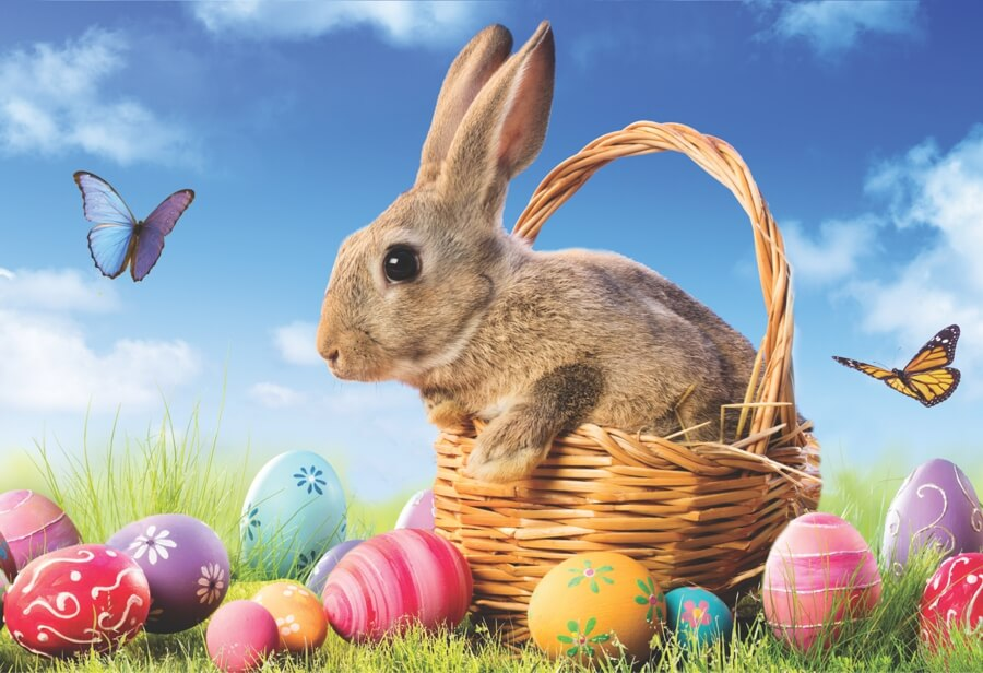 Easter Bunny Easter Basket and Eggs Jigsaw Puzzle